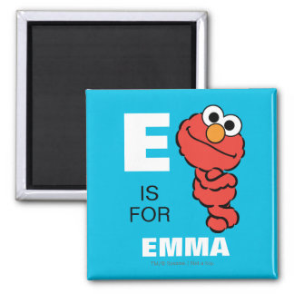 E is for Elmo   Add Your Name 2 Inch Square Magnet