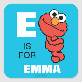 E is for Elmo | Add Your Name Square Sticker