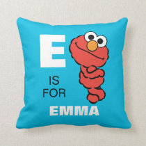 E is for Elmo | Add Your Name Throw Pillow