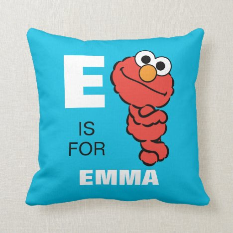 E is for Elmo   Add Your Name Throw Pillow