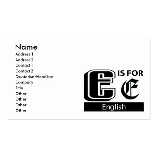 E Is For English Double-Sided Standard Business Cards (Pack Of 100)