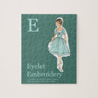 E is for Eyelet Fashion Alphabet Jigsaw Puzzle