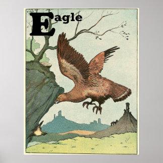 E is for Golden Eagle Alphabet Poster