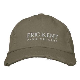 E K Olive Distressed Baseball Hat Embroidered Hat