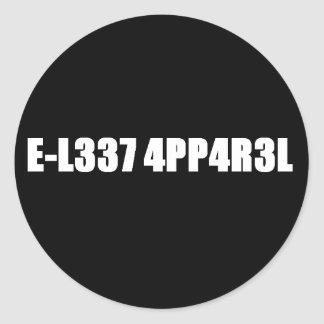 E-L337 4PP4R3L Stickies Pegatina Redonda