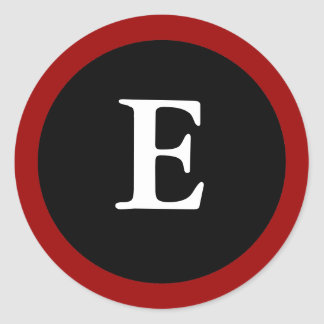 E: Letra inicial pegatina rojo, blanco y negro de