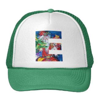 E LETTER / SANTA WITH CHRISTMAS TREE MONOGRAM TRUCKER HAT