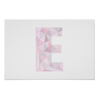 E - Low Poly Triangles - Neutral Pink Purple Gray Poster