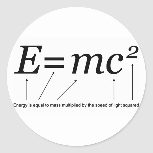 E=MC2 Einstein's Theory of Relativity Classic Round Sticker