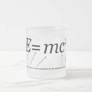 E=MC2 Einstein's Theory of Relativity Frosted Glass Coffee Mug