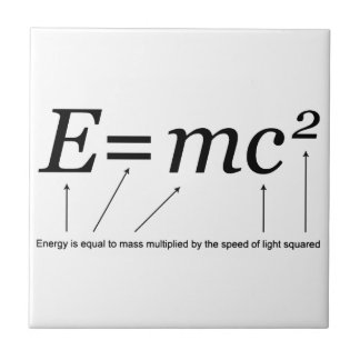 E=MC2 Einstein's Theory of Relativity Small Square Tile