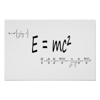 E=mc2 formula, physics relativity theory Einstein Poster