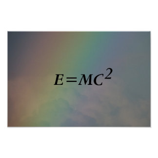 E=mc2 formula, physics relativity theory, Rainbow Poster