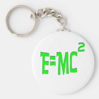 E=MC2 (green) Basic Round Button Keychain
