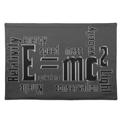 E=MC2 Science Mass Equivalence Einstein Placemat
