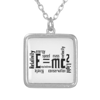 E=MC2 Science Mass Equivalence Einstein Square Pendant Necklace