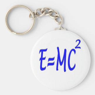E = MC 2 (blue) Basic Round Button Keychain