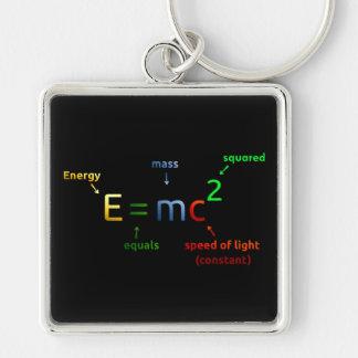 E = MC^2. E iguala la bujía métrica ajustada Llavero Cuadrado Plateado