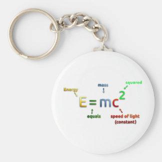 E = MC^2. E iguala la bujía métrica ajustada Llavero Redondo Tipo Pin