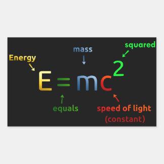 E = MC^2. E iguala la bujía métrica ajustada Pegatina Rectangular