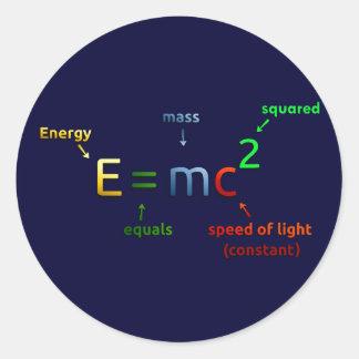 E = MC^2. E iguala la bujía métrica ajustada Pegatina Redonda