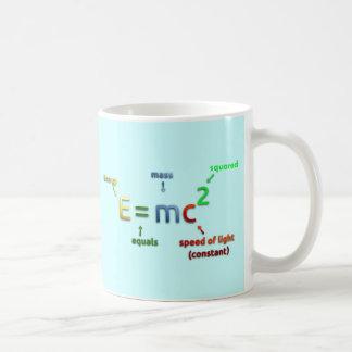 E = MC^2. E iguala la bujía métrica ajustada Taza Básica Blanca
