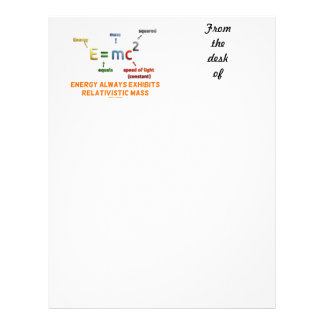 E=mc^2 Energy Always Exhibits Relativistic Mass Letterhead Design