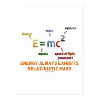 E=mc^2 Energy Always Exhibits Relativistic Mass Postcards