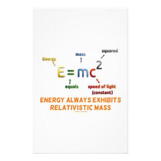 E=mc^2 Energy Always Exhibits Relativistic Mass Stationery