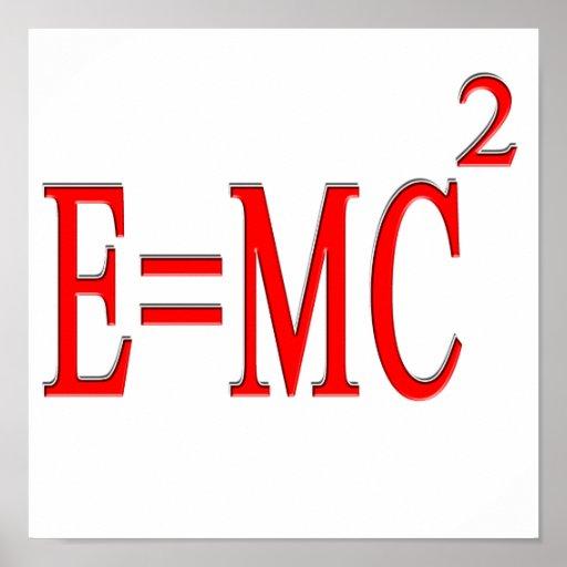 E=MC 2 (rojo) Póster
