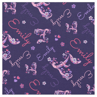 E monogram and personalized name Emily fabric