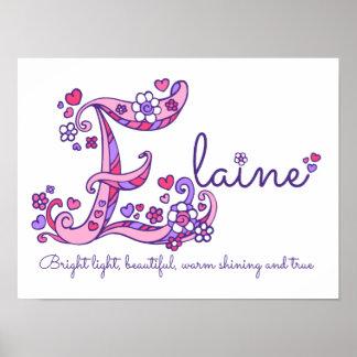 E monogram art Elaine girls name meaning poster