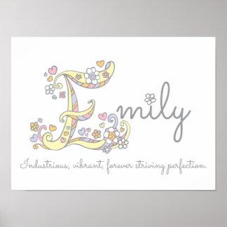 E Monogram Art Emily Girls Name Meaning Poster