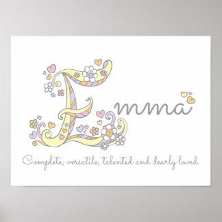 E Monogram Art Emma Girls Name Meaning Poster