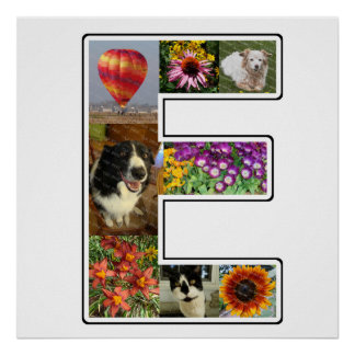 E Monogram Create Your Own 8 Custom Photo Collage Poster