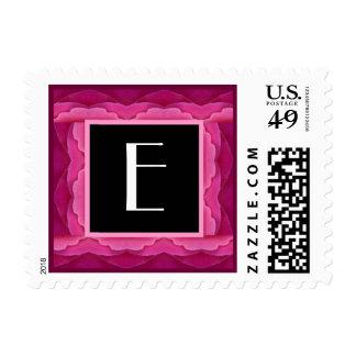 E - Monogram Postage Stamp - Pink Rose Petals