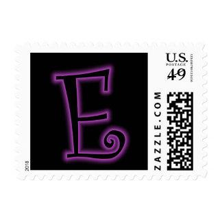 E Monogram Purple Neon Postage Stamp