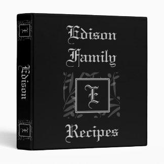 E Monogram Recipe Book 3 Ring Binders