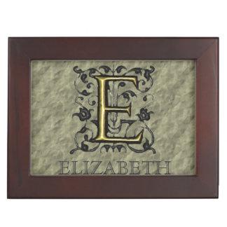 E - Monograma grabado en relieve del vintage (oro) Caja De Recuerdos
