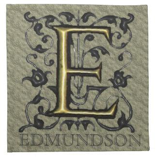 E - Monograma grabado en relieve del vintage Servilleta Imprimida