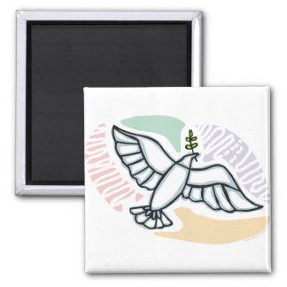 E - Paloma de la paz Imán Cuadrado