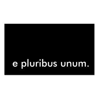 e pluribus unum. business card