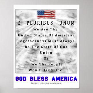 E PLURIBUS UNUM - God Bless America [BLUE] Poster