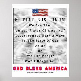 E PLURIBUS UNUM - God Bless America [RED LETTERS] Poster