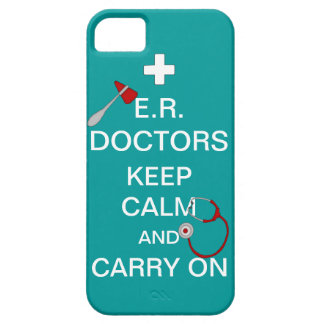 E.R. Doctors Keep Calm+Stethoscope/Blue-Green iPhone SE/5/5s Case