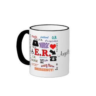 E.R. Nurse-Colorful Word Cloud Ringer Coffee Mug