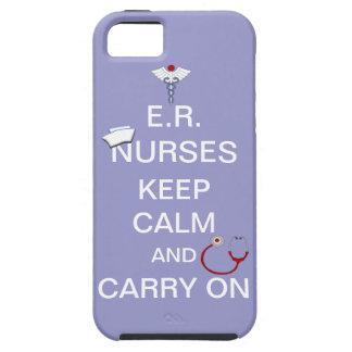 E.R. Nurses Keep Calm+Stethoscope and Cap/Purple iPhone 5 Cover