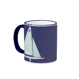 E Scow Class Racing Sailboat Ringer Coffee Mug