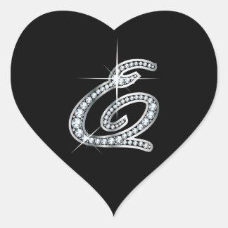 """E Script Faux-""""Diamond"""" Heart Sticker"""