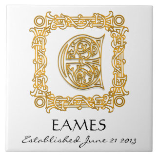 """E"" Surname Wedding Anniversary Day Monogram Tile"